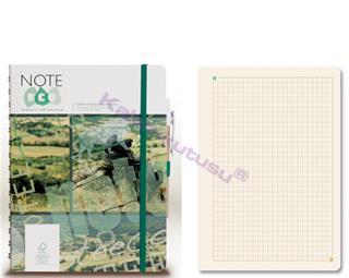 Note Eco Organic Notebook 15.8x20.6cm Spiralli Kareli - Kalem Hediyeli
