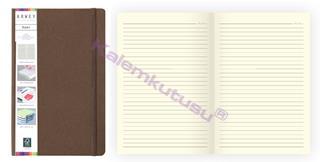 Arwey Baer Notebook Lastikli Sert Kapak Çizgili Kalemli 13.2x21cm Kahverengi