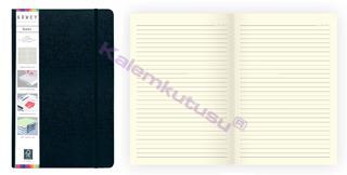Arwey Baer Notebook Lastikli Sert Kapak Çizgili Kalemli 13.2x21cm Siyah