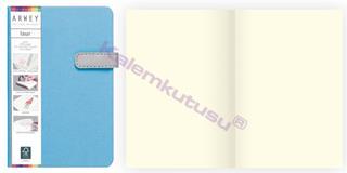 Arwey Laur Notebook Mıknatıslı Sert Kapak Çizgisiz 11.5x16.5cm Mavi
