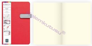 Arwey Laur Notebook Mıknatıslı Sert Kapak Çizgisiz 11.5x16.5cm Kırmızı