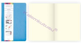 Arwey Andre Notebook Termo Deri Esnek Kapak Çizgisiz 11x16.5cm Mavi