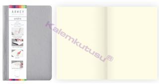 Arwey Andre Notebook Termo Deri Esnek Kapak Çizgisiz 11x16.5cm Gri