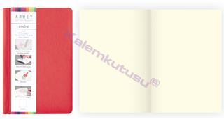 Arwey Andre Notebook Termo Deri Esnek Kapak Çizgisiz 11x16.5cm Kırmızı