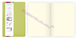 Arwey Andre Notebook Termo Deri Esnek Kapak Çizgisiz 11x16.5cm Yeşil
