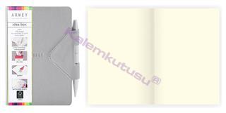 Arwey Idea Box Notebook Mıknatıslı Sert Kapak Çizgisiz Kalemli 12x16.5cm Gri