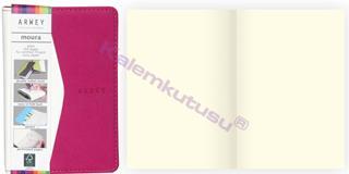 Arwey Moura Notebook Termo Deri Esnek Kapak Çizgisiz 8x13cm Beyaz/Fuşya
