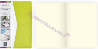 Arwey Moura Notebook Termo Deri Esnek Kapak Çizgisiz 8x13cm Beyaz/Yeşil