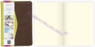 Arwey Moura Notebook Termo Deri Esnek Kapak Çizgisiz 8x13cm Yeşil/Kahve