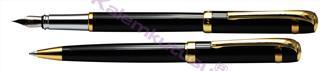 Steelpen Saturn183 Parlak Krom/Altın Kaplama Dolma Kalem + Tükenmez Kalem Set<br>