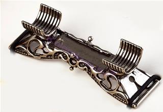 Bortoletti Alpacca Murano Camlı Modeller için Gümüş/Bronz Kalemlik