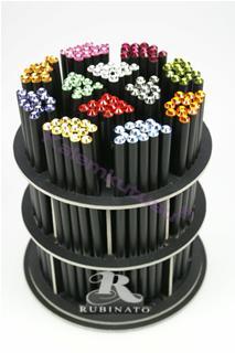 Francesco Rubinato Renkli Swarovski Taşlı Siyah Gövdeli Kurşun Kalem - 9 Farklı Taş rengi Seçeneği