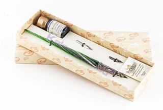 Bortoletti Murano Camı Yeşil/Beyaz Burgulu Gövde / Gümüş Divit Uçlu Kalem + İki Uç + Mürekkep Set