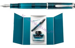 Pelikan Classic 205 Aquamarine Dolma Kalem + Edelstein Mürekkep - 4 Farklı Uç Seçeneği<br>