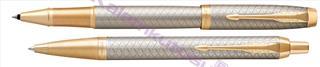 Parker IM Premium Warm Silver/Gold Çapraz Gravürlü Roller Kalem + Tükenmez Kalem