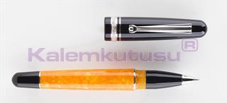 DELTA DolceVita Fusion Siyah-Turuncu Selüloit Reçine/Rodyum-Gümüş Roller Kalem<br>