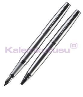 Cordial Shine Mat Gümüş/Krom Dolma kalem + Tükenmez kalem + Hediye Kutu<br>