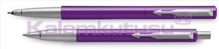 Parker Vector Mor/Krom Roller Kalem + Tükenmez Kalem<br>