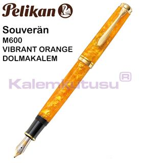 Pelikan Souverän M600 Vibrant Orange Dolma Kalem - 4 Farklı Uç Seçeneği<br>