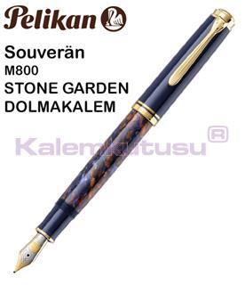 Pelikan Souverän M800 Stone Garden Damarlı Selüloz Dolma Kalem - 4 Farklı Uç Seçeneği<br>