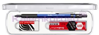 Scrikss Graph-X Metalik Mavi 0.5mm Mekanik Kurşun Kalem + Silgi + 24Lü-0.5mm-2B Uç<br>