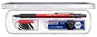 Scrikss Graph-X Metalik Kırmızı 0.7mm Mekanik Kurşun Kalem + Silgi + 24Lü-0.7mm-2B Uç<br>