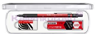 Scrikss Graph-X Metalik Kırmızı 0.5mm Mekanik Kurşun Kalem + Silgi + 24Lü-0.5mm-2B Uç<br>