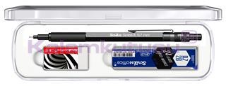 Scrikss Graph-X Antrasit 0.7mm Mekanik Kurşun Kalem + Silgi + 24Lü-0.7mm-2B Uç<br>