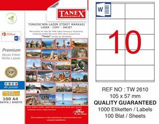 TANEX LASER ETİKET TW-2610 105 X 57 MM