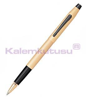 Cross Classic Century Brushed Rose-Gold PVD Black Roller Kalem<br>