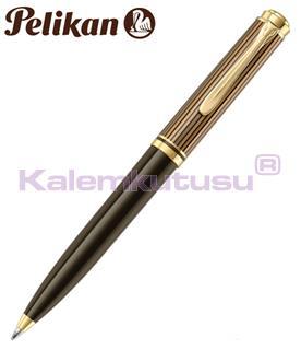 Pelikan Souverän K800 Kahverengi-Siyah Altın Tükenmez kalem