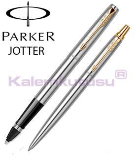 Parker Jotter GT Paslanmaz Mat Çelik/23kt. Altın Klips Roller Kalem + Tükenmez Kalem<br>