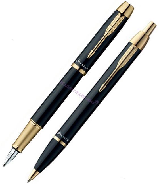 Parker I.M. Parlak Siyah/Altın Dolma kalem + Tükenmez kalem Set