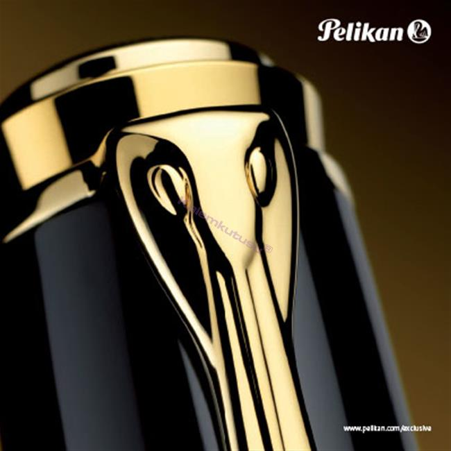 Pelikan K800 Souveran PARLAK LAKE SİYAH REÇİNE/ALTIN BÜYÜK BOY TÜKENMEZ KALEM