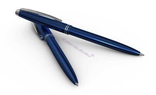 Scrikss Prestige 108 Tükenmez Kalem + 0.7mm M.Kurşun Kalem Takım - Metalik Mavi