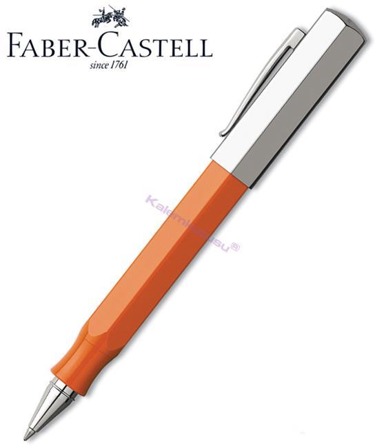 Faber Castell Ondoro Parlak Krom/Turuncu Reçine Kalın Köşeli Roller Kalem