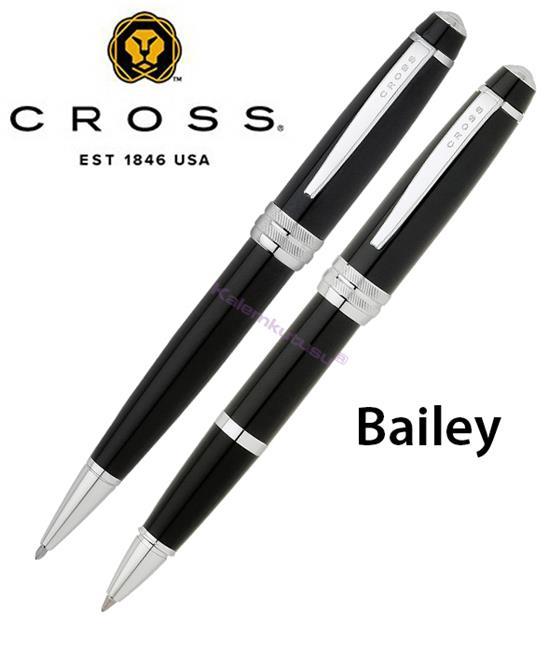 CROSS Bailey Parlak Lake Siyah Roller kalem + Tükenmez kalem