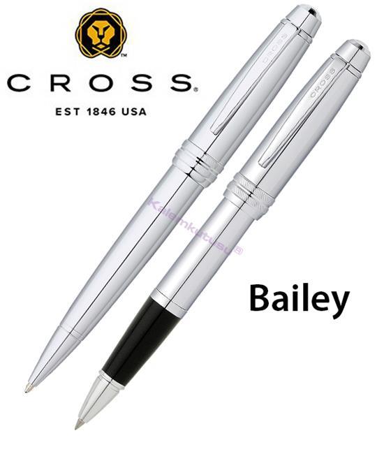 CROSS Bailey Parlak Lake Krom Roller kalem + Tükenmez kalem