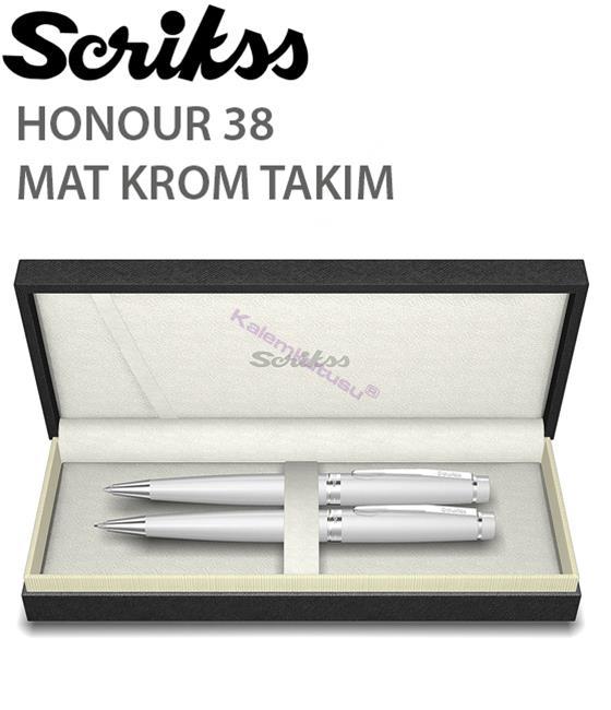 Scrikss Honour38 Mat Krom/Parlak Krom Aksam Tükenmez Kalem + Versatil Kalem
