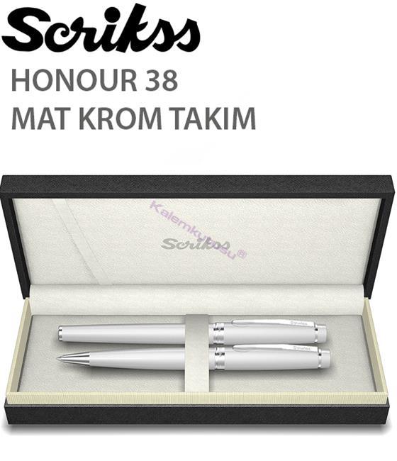 Scrikss Honour38 Mat Krom/Parlak Krom Aksam Dolma Kalem + Tükenmez Kalem