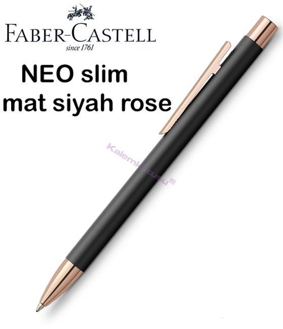 Faber-Castell Neo Slim Mat Siyah/Rose Gold Tükenmez Kalem