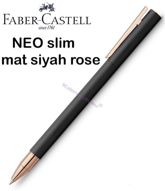 Faber-Castell Neo Slim Mat Siyah/Rose Gold Roller Kalem