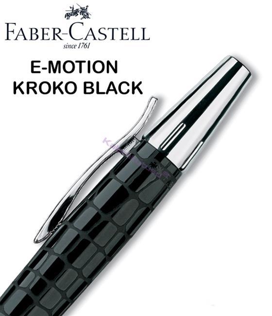 FABER-CASTELL E-MOTION KROKO/PARLAK KROM TÜKENMEZ KALEM - Siyah