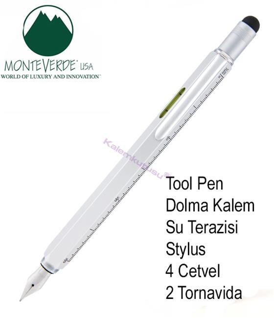 MONTEVERDE U.S.A Tool Dolma Kalem+Stylus+2 Tornavida+4 Cetvel+Su Terazisi - Gümüş Gri