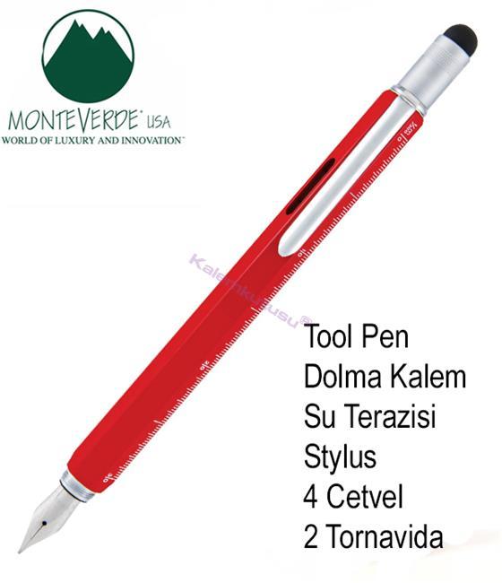 MONTEVERDE U.S.A Tool Dolma Kalem+Stylus+2 Tornavida+4 Cetvel+Su Terazisi - Kırmızı