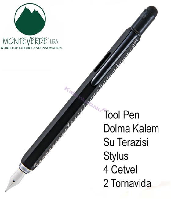 MONTEVERDE U.S.A Tool Dolma Kalem+Stylus+2 Tornavida+4 Cetvel+Su Terazisi - Siyah
