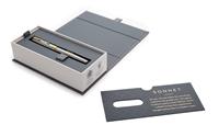 PARKER Sonnet Mat Fırça Darbeli Çelik/Altın Dolma Kalem + Tükenmez Kalem<br>